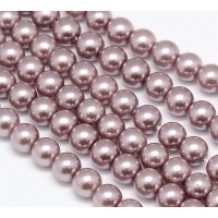 Mauve Pink Glass Pearl Beads, 8mm Smooth Round