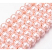 Warm Pink Glass Pearl Beads, 8mm Smooth Round