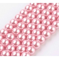 Bright Pink Glass Pearl Beads, 8mm Smooth Round