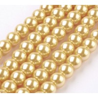 Golden Yellow Glass Pearl Beads, 8mm Smooth Round