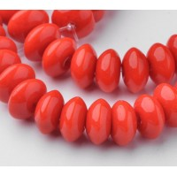 -Bright Red Glass Beads, 8x4mm Smooth Rondelle