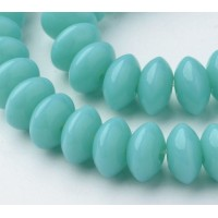Light Teal Glass Beads, 8x4mm Smooth Rondelle