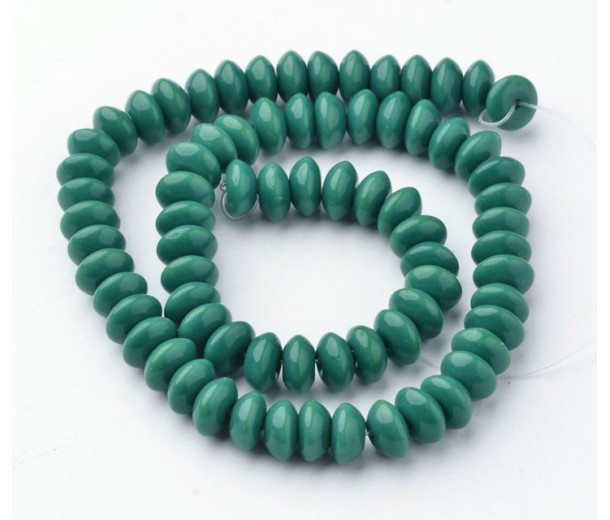 Dark Teal Glass Beads, 8x4mm Smooth Rondelle