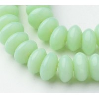 Mint Green Glass Beads, 8x4mm Smooth Rondelle