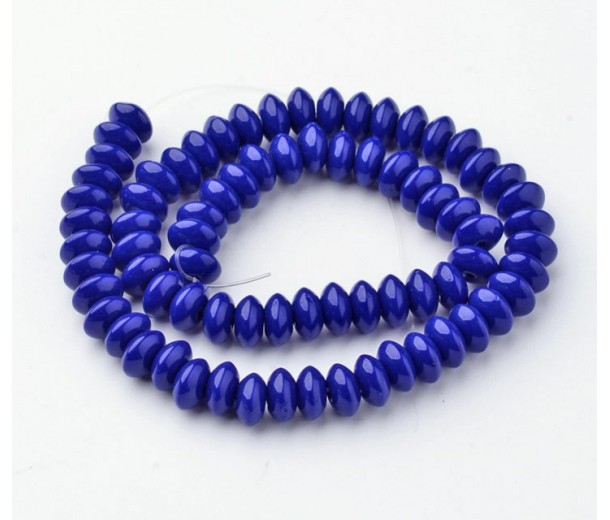 Cobalt Blue Glass Beads, 8x4mm Smooth Rondelle