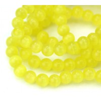 Lemon Yellow Cat Eye Glass Beads, 6mm Smooth Round