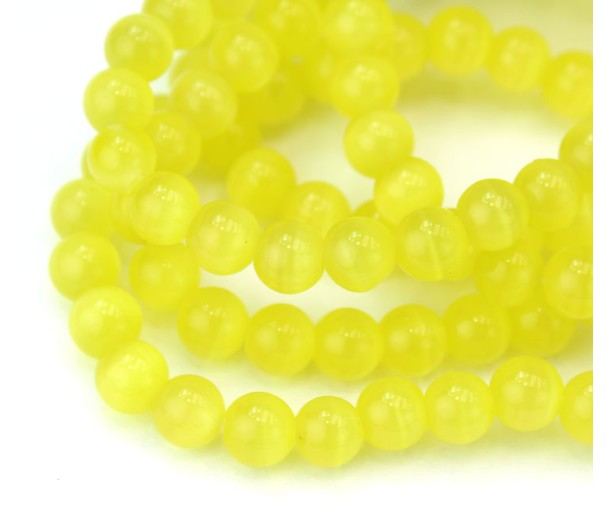 Lemon Yellow Cat Eye Glass Beads, 6mm Smooth Round