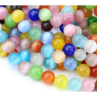Color Mix Cat Eye Glass Beads, 10mm Smooth Round