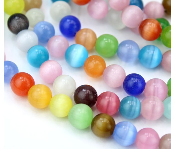 Color Mix Cat Eye Glass Beads, 8mm Smooth Round