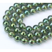 Crystal Glass Beads, Moss Green AB, 8mm Smooth Round