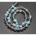 Foiled Crystal Glass Beads, Clear, 8mm Smooth Round