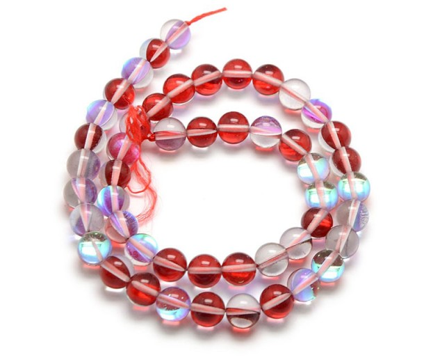 Foiled Crystal Glass Beads, Dark Red, 10mm Smooth Round