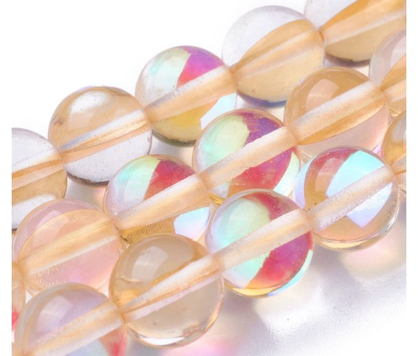Foiled Crystal Glass Beads, Peach, 8mm Smooth Round
