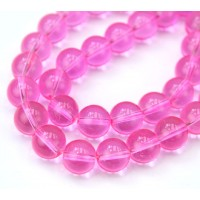 Glass Beads, Vivid Pink, 10mm Smooth Round