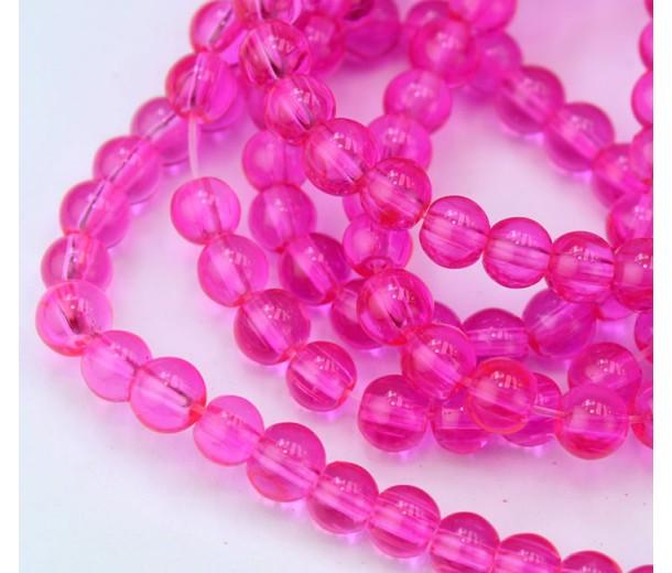 Glass Beads, Vivid Pink, 6mm Smooth Round