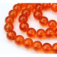 Glass Beads, Orange, 10mm Smooth Round