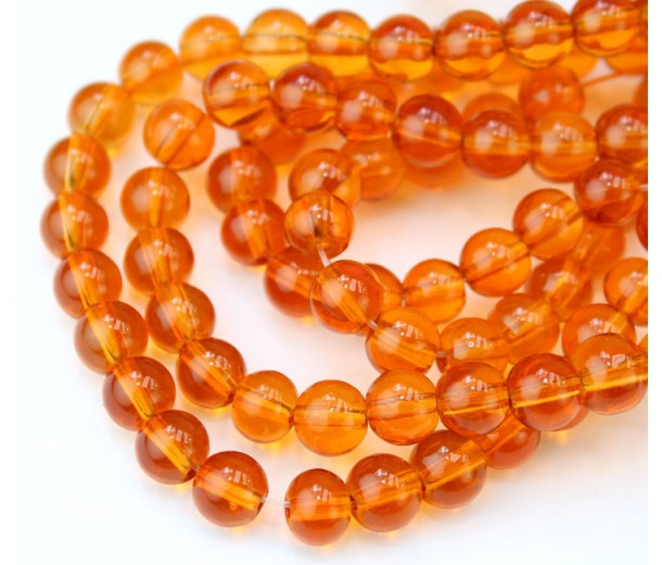 Glass Beads, Orange, 6mm Smooth Round