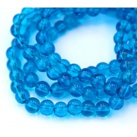 Glass Beads, Medium Blue, 6mm Smooth Round