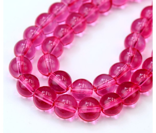 Glass Beads, Dark Pink, 10mm Smooth Round