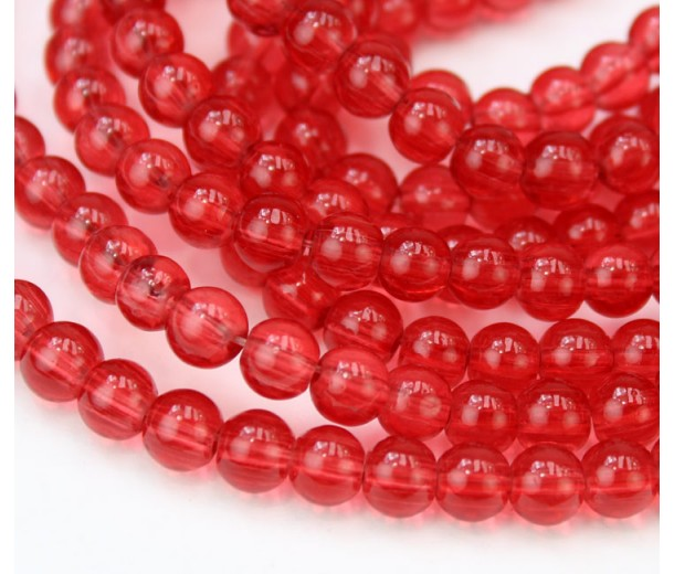 Glass Beads, Cranberry Red, 6mm Smooth Round
