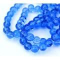 Glass Beads, Medium Blue, 8mm Smooth Round
