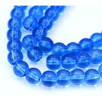 Glass Beads, Medium Blue, 8mm Smooth Round