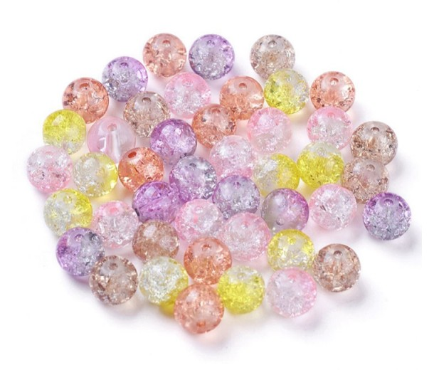 Crackle Glass Beads, Princess Mix, 8mm Round, Pack of 50