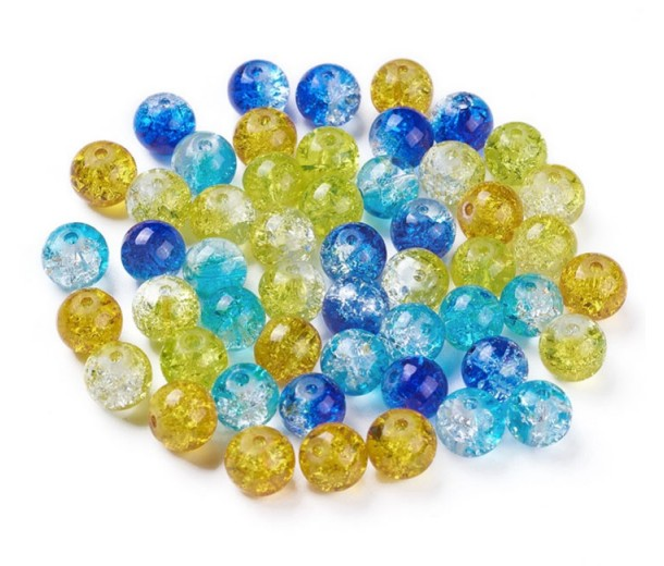 Crackle Glass Beads, Blues and Yellows Mix, 8mm Round, Pack of 50