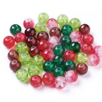 Crackle Glass Beads, Wild Berries Mix, 8mm Round, Pack of 50