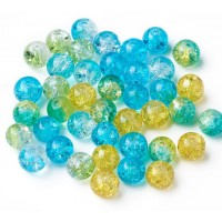 Crackle Glass Beads, Beach Mix, 8mm Round, Pack of 50