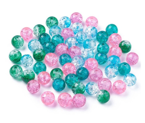 Crackle Glass Beads, Winter Rose Mix, 8mm Round, Pack of 50