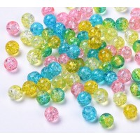 Crackle Glass Beads, Birthday Mix, 8mm Round, Pack of 50