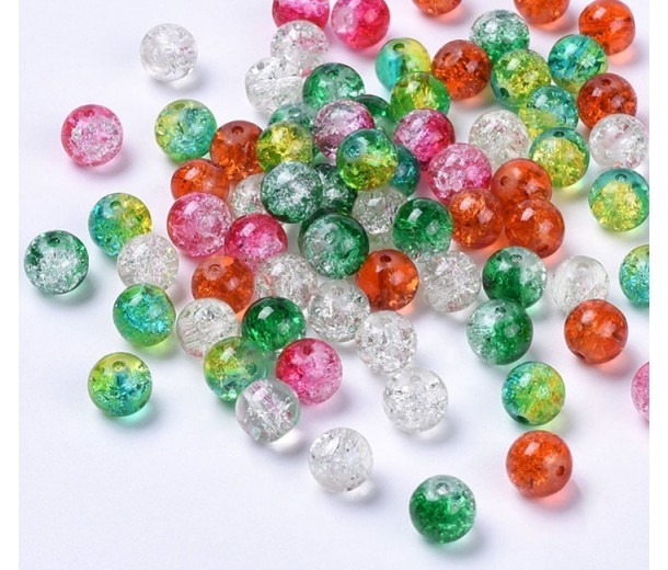 Crackle Glass Beads, Holidays Mix, 8mm Round, Pack of 50