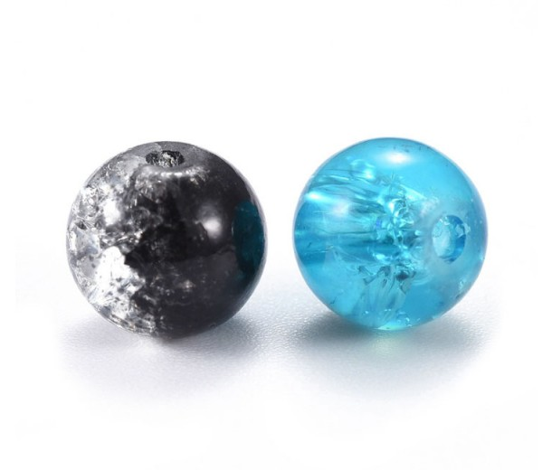 Crackle Glass Beads, Aquarius Mix, 8mm Round, Pack of 50