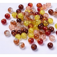 Crackle Glass Beads, Harvest Mix, 8mm Round, Pack of 50