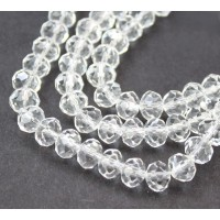 Clear Glass Beads, 8x6mm Faceted Rondelle