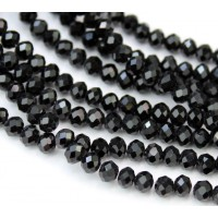 Black Opaque Glass Beads, 4x3mm Faceted Rondelle