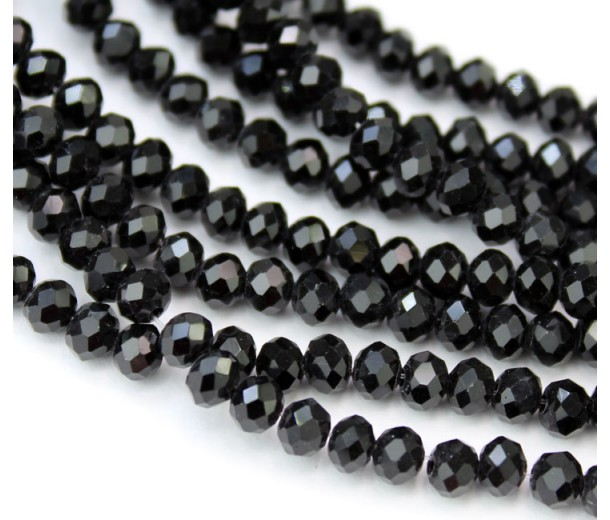 Black Glass Beads, 4x3mm Faceted Rondelle