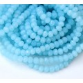 Milky Light Blue Glass Beads, 4x3mm Faceted Rondelle