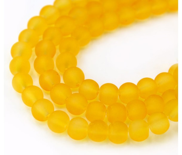 Goldenrod Yellow Frosted Glass Beads, 6mm Smooth Round