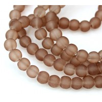 Brown Frosted Glass Beads, 6mm Smooth Round