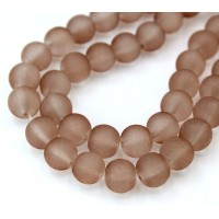 Brown Frosted Glass Beads, 8mm Smooth Round