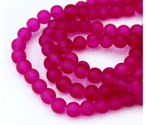 Dark Fuchsia Frosted Glass Beads, 6mm Smooth Round