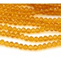 Amber Yellow Transparent Glass Beads, 4x3mm Faceted Rondelle