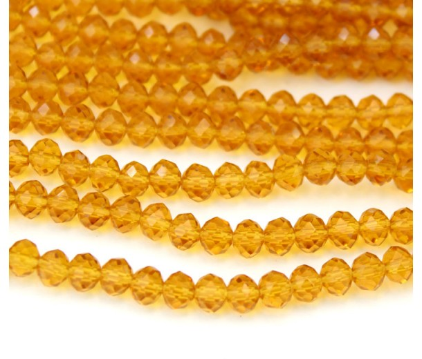 """Yellow 16/"""" 8x5mm Matte Frosted Neon Glass Faceted Rondelle Beads Rubberized"""