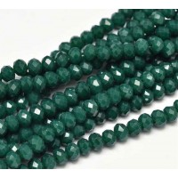 -Opaque Emerald Green Glass Beads, 4x3mm Faceted Rondelle