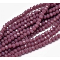 Opaque Old Rose Glass Beads, 4x3mm Faceted Rondelle