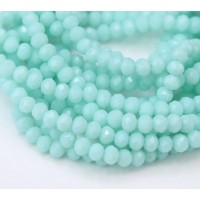 Aqua Opaque Glass Beads, 4x3mm Faceted Rondelle