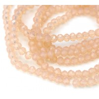 Milky Light Peach Glass Beads, 4x3mm Faceted Rondelle