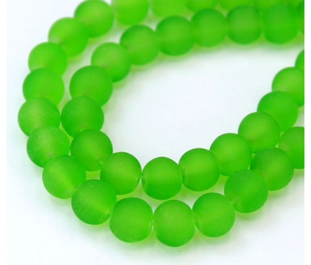 Leaf Green Frosted Glass Beads, 10mm Smooth Round